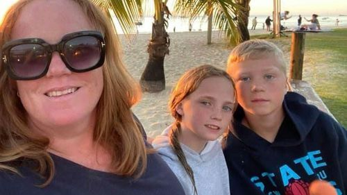 Kate Walther, pictured with her children Lily and Lachlan.