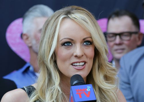 Porn star Stormy Daniels, pictured on British television last week, was allegedly paid $130,000 for her silence about her relationship with Trump.