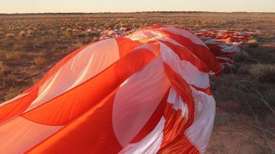 The balloon is made from nearly 9000 square metres of material and as large as a football stadium when fully inflated, a NASA spokesman said. <p></p><p>  The continuous 32 day flight was terminated last week for safety reasons after the balloon developed a leak. </p><p>  (Melissa McCarthy) </p>