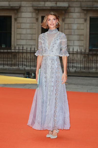 Arizona Muse in Temperley at the Royal Academy of Arts summer exhibition.