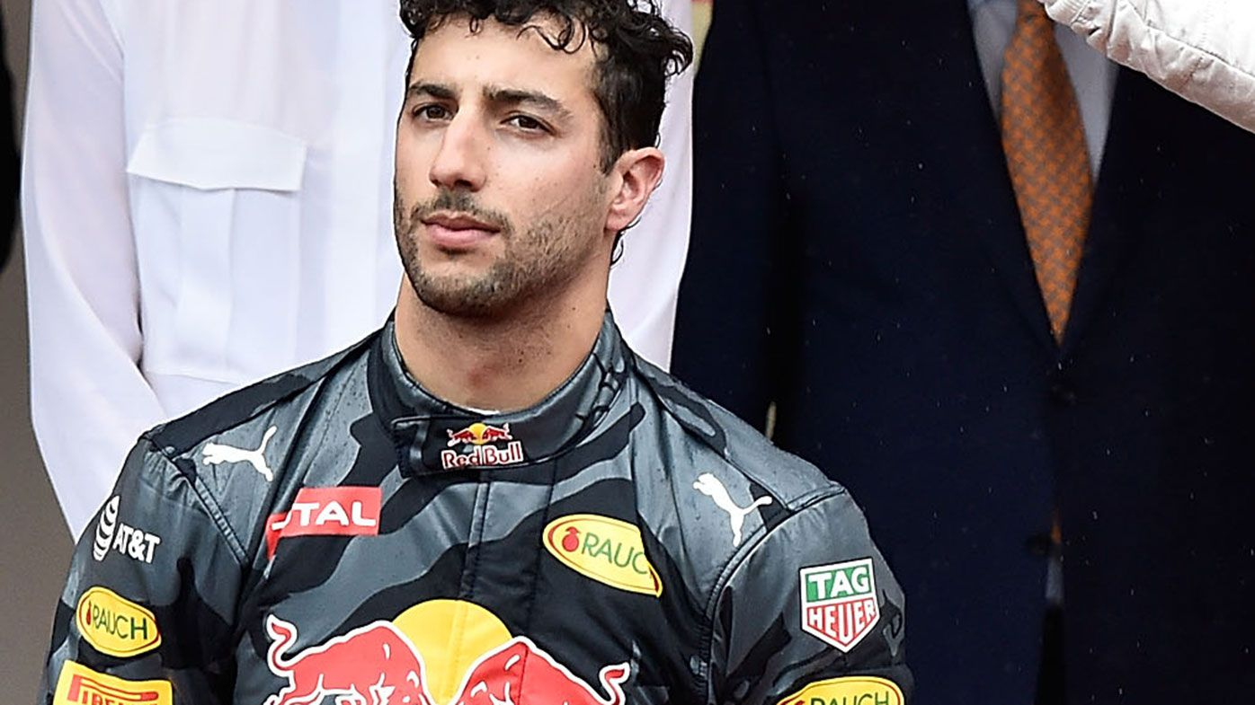 Daniel Ricciardo fumes on the podium at Monaco in 2016.