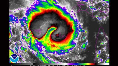 An NOAA satellite shows category four Cyclone Lam moving across the Top End.