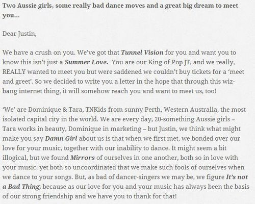 The open letter to Timberlake on their website, dtwillmeetjt.com