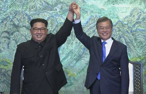 Kim and South Korean President Moon Jae-in pictured during their talks last April.