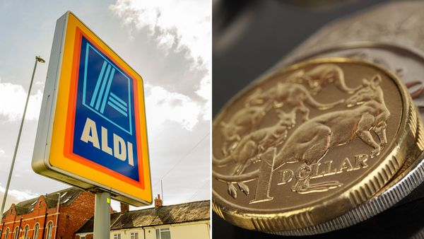 Aldi generic sign, Australian currency coins
