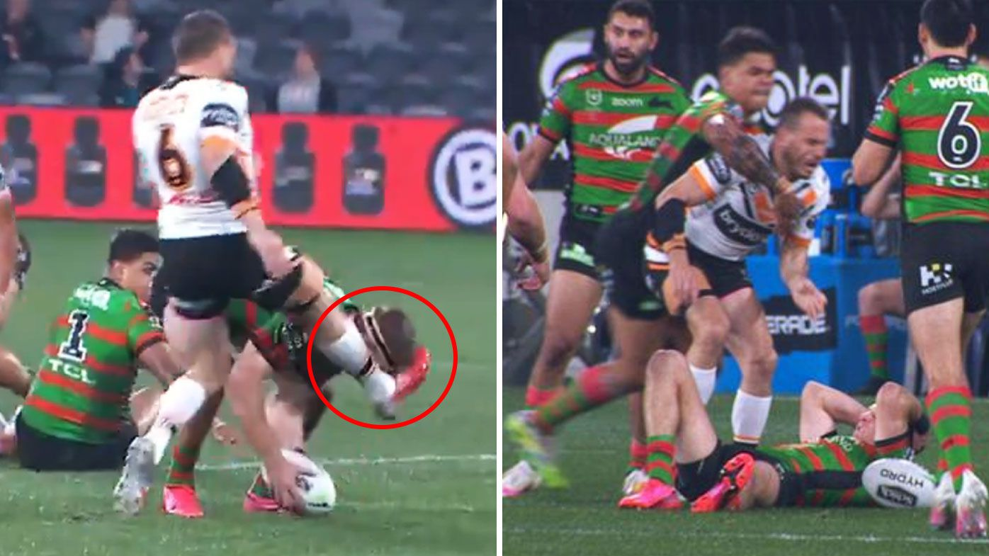 'Wake up to yourself, f---wit': Josh Reyonolds and Latrell Mitchell fire up after ugly head kick