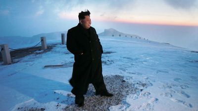 <p><b>Kim Jong Un: Mountaineer</b></p>North Korean leader Kim Jong-un posing for a photo on Mount Paekdu, which he claimed to have climbed, despite wearing leather shoes. It is the latest in a long line of propaganda images released by North Korean state-run media, designed to exalt the Supreme Leader. (AP)