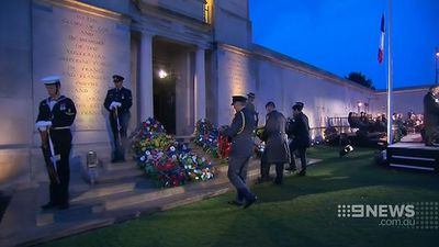 Soldiers commemorate the fallen at the town's dawn service. (9NEWS)