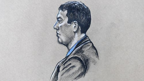 A court sketch of killer Brenden Bennetts. (AAP)