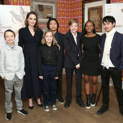 Angelina Jolie with all six children