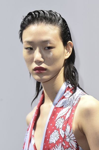 Sleek and chic - sporty-spice wet-look hair at Thakoon.