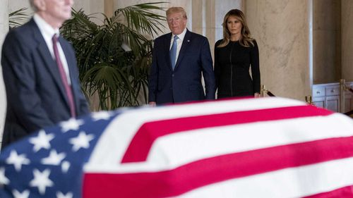 Donald Trump was on his way to pay his respects to a late Supreme Court judge when he lashed out at 'the squad'.