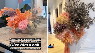 Bec Judd has dried flower arrangements in her home.