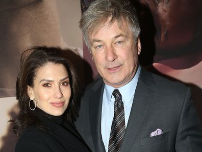 "Hilaria Baldwin and husband Alec Baldwin pose at the opening night of the revival of Ivo van Hove's ""West Side Story""on Broadway at The Broadway Theatre on February 20, 2020 in New York City."