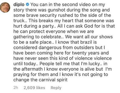 Diplo, carnival, Brazil, shooting, Instagram, comment