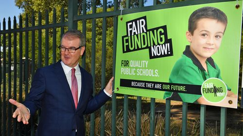 NSW Leader of the Opposition Michael Daley before a press conference outside Dalmeny Public School at Prestons in Sydney.