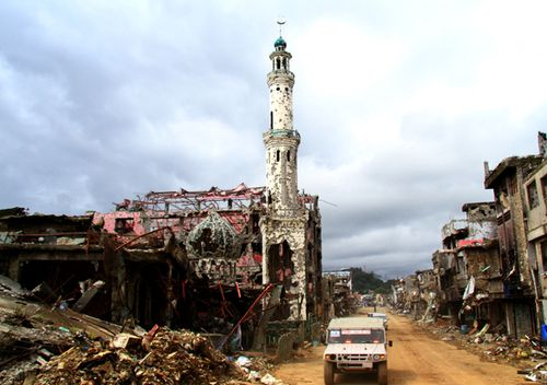A devastated mosque in the ruined city of Marawi, Lanao del Sur province, Philippines. Authorities now face the task of rehabilitating the devastated city and providing housing to the displaced residents.
