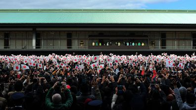 Japan's Emperor Naruhito and Empress Masako greet people during the New Year's appearance by the Japanese royal family at the Imperial Palace (Kokyo) in Tokyo, Japan on January 02, 2020.