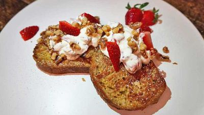 "Recipe:&nbsp;<a href=""http://kitchen.nine.com.au/2017/07/12/08/58/high-protein-ricotta-and-strawberry-french-toast"" target=""_top"">High protein ricotta and strawberry French toast</a>"