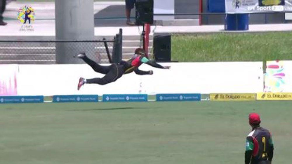 Fabian Allen takes a stunning catch in the Caribbean Premier League.