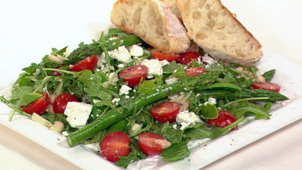 Snow pea, feta and bean salad