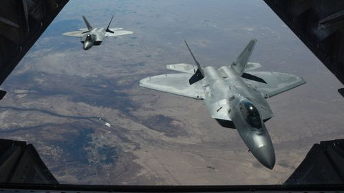 The US military said its air strike killed 100 Syrian government fighters. (AP).