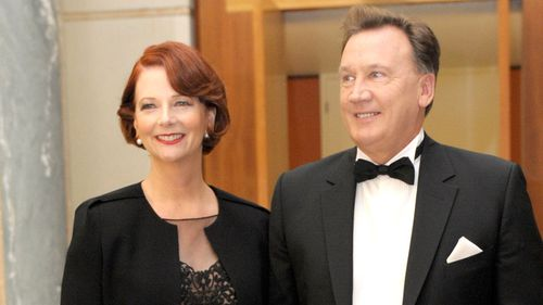Julia Gillard with her partner Tim Mathieson. (AAP)