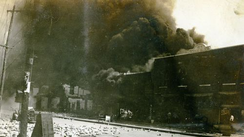 Damage from the Tulsa Race Riot in June 1921.