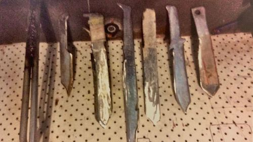 A court previously released images of the knives seized from a student who threatened staff and classmates at a South Australian school.