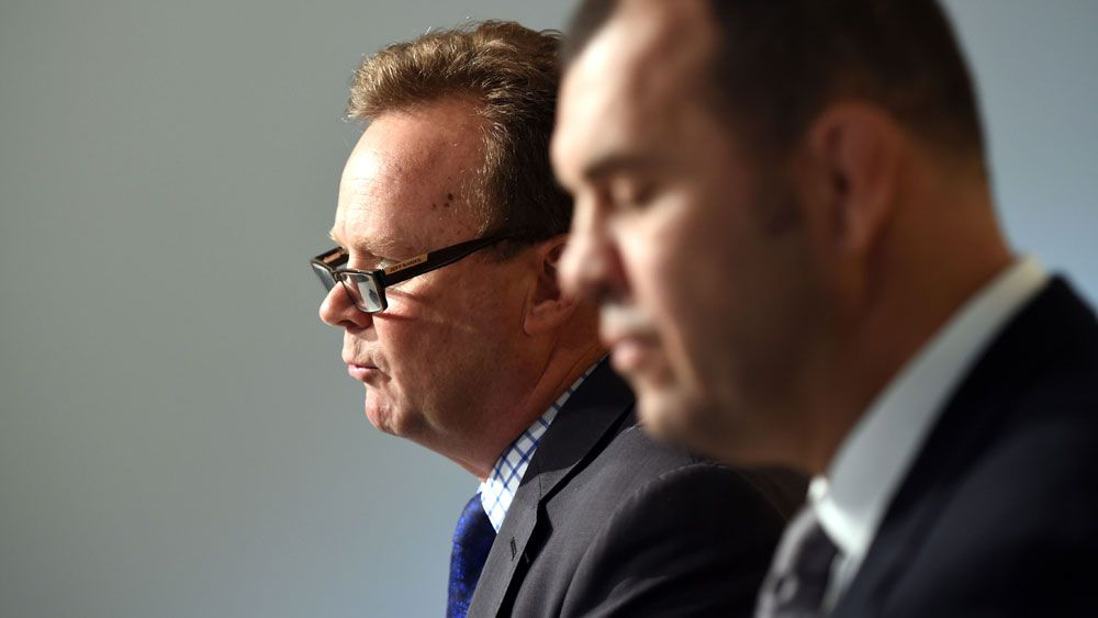 Australian rugby boss Bill Pulver (left) and Michael Cheika. (AAP)