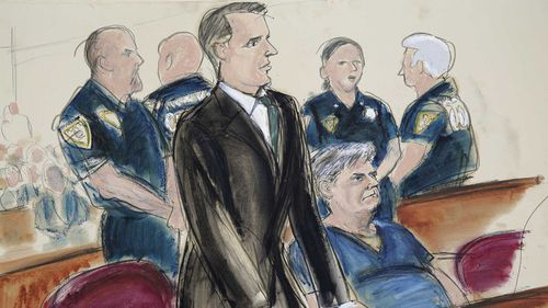 A courtroom sketch shows Donald Trump's former campaign chair Paul Manafort (seated) in a New York court.