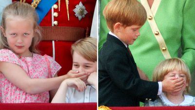 Savannah Phillips 'shushes' Prince George, 2018; Prince Harry does the same to Princess Beatrice, 1990