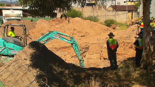 Earlier this month, investigators spent a day sifting through soil at the New Castalloy factory at North Plymptom. (9NEWS)