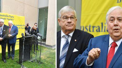 Sprinklers rain on Clive Palmer's parade