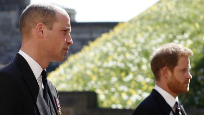 William and Harry at Prince Philip's funeral, April 2021
