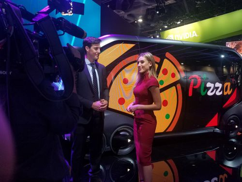 Toyota are also exhibiting e-pallete, an electric self-driving pod that can be used for ride sharing or food delivery. (9NEWS)