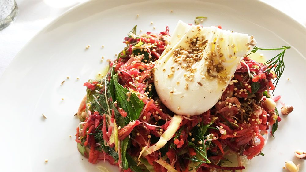 Raw vegetables, sprouts, quinoa and poached egg by Mike McEnearney. Image: 9Kitchen