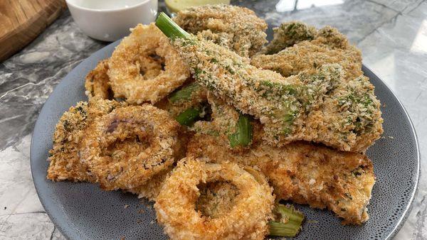 Tempura battered air-fried veggies with crisp panko crumb