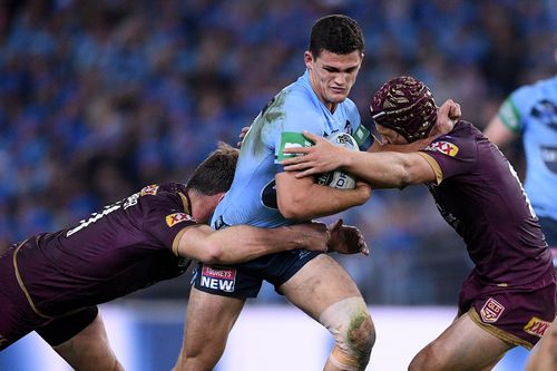 Nathan Cleary shows his determination in attack. Picture: AAP