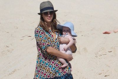 Jessica Alba and hubby Cash Warren took their kiddies, Honor and Haven, to Mexico for a beach holiday