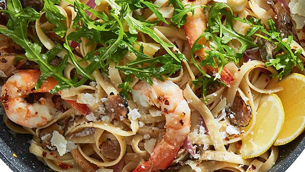 Prawn and black truffle pasta