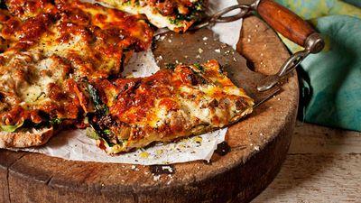 """Recipe: <a href=""""http://kitchen.nine.com.au/2016/05/13/13/53/spiced-lamb-turkish-pizza"""" target=""""_top"""">Spiced lamb Turkish pizza</a>"""