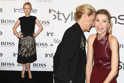 <i>Janet King</i> star Marta Dusseldorp giggling on the black carpet with Abby Earl.<br/><br/>Image: Getty