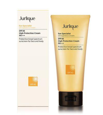 """""""Apply an SPF moisturiser,"""" says McFadden. """"I am loving Jurlique Sun Specialist at the moment."""""""