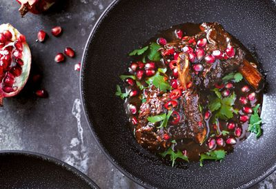 """Recipe:&nbsp;<a href=""""/article.aspx?id=9097409 """" target=""""_top"""" draggable=""""false"""">Beef short ribs braised in pomegranate</a>"""