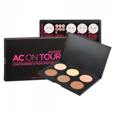 "<a href=""https://www.priceline.com.au/australis-ac-on-tour-kit-21-g"" target=""_blank"" draggable=""false"">AC on Tour Contouring and Highlighting Kit, $16.95.</a>"