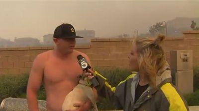 "US television reporter Courtney Friel was left struggling to finish her live report on bushfires outside Los Angeles after a shirtless man told her she ""looked pretty"" and asked her out on a date."