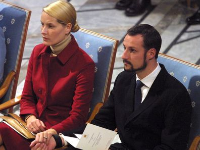 Prince Haakon and Princess Mette-Marit in their first public appearance post-engagement.