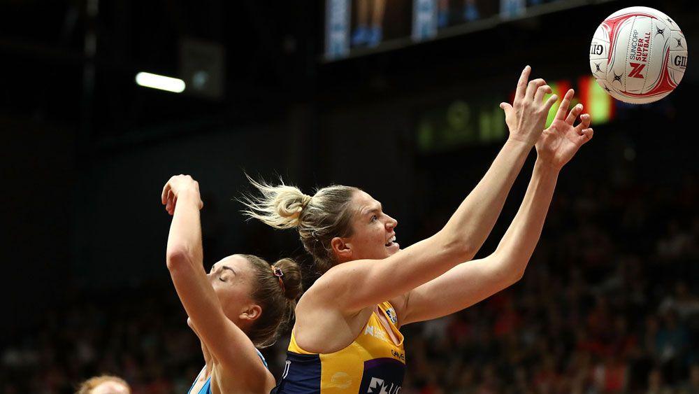 Sunshine Coast Lightning's Caitlin Bassett and NSW Swifts' Sarah Klau.