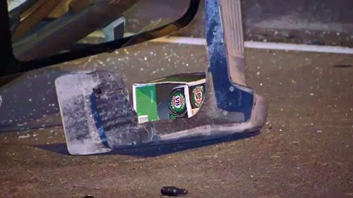 An empty carton of Victoria Bitter beer could be seen under the car. However police were unable to confirm if it came from one of the vehicles.